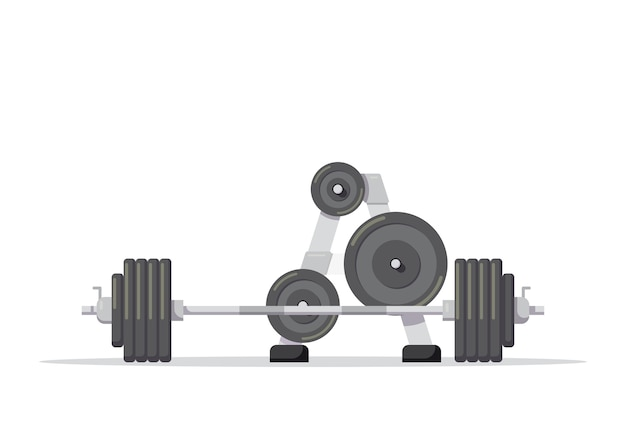 Illustration of a barbell with additional weights isolated on white background. gym equipment