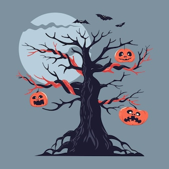 Illustration of a bare spooky scary halloween tree with pumpkins decoration and flying bat