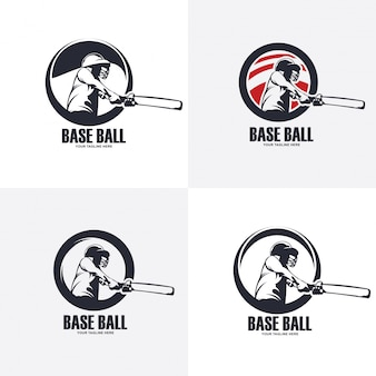 Illustration of base ball logo design, baseball silhouette Premium Vector