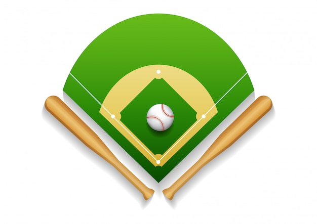 Illustration of baseball field with leather ball and wooden bats.