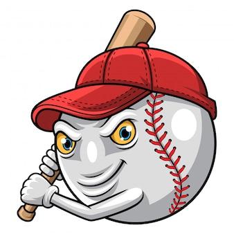 Illustration of baseball ready to strike mascot