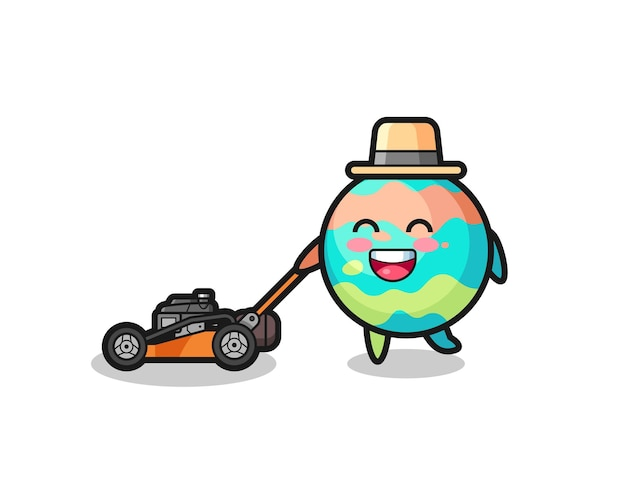 Illustration of the bath bombs character using lawn mower , cute style design for t shirt, sticker, logo element