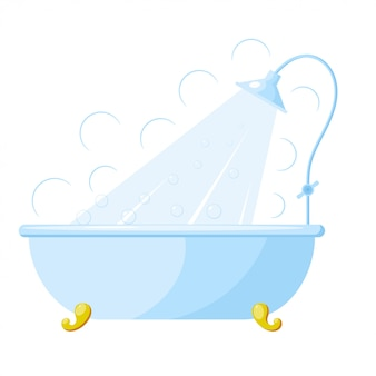 Illustration of a bath with shower. cartoon bath with shower. isolated object. image blue with gold bath stand