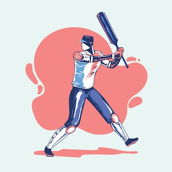 Illustration of batsman playing cricket championship or cricket player with bat swing