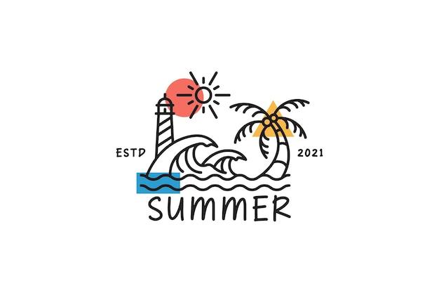 그림 해변 여름 로고
