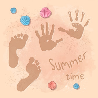 Illustration of beach summer party with footprints on the sand