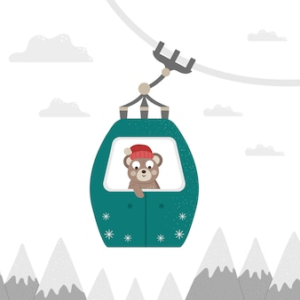 Illustration of a bear in cable car. mountain holidays