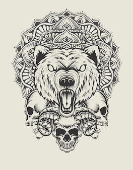 Illustration bear head with skull and mandala monochrome style
