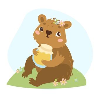 Illustration bear and honey