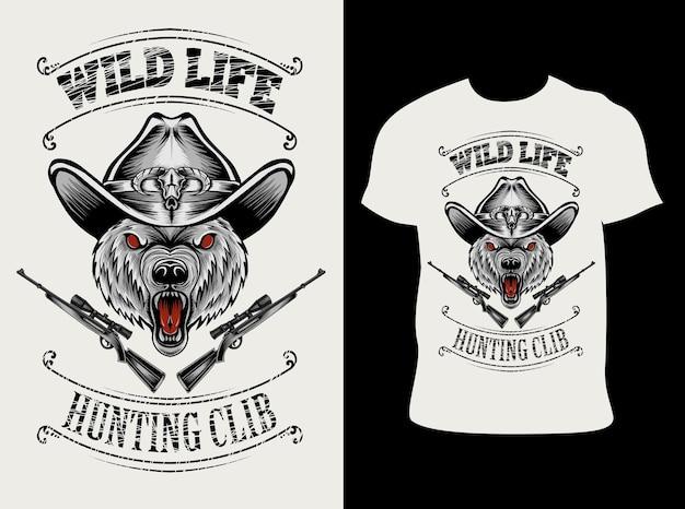 Иллюстрация медведь голова охотника с дизайном футболки