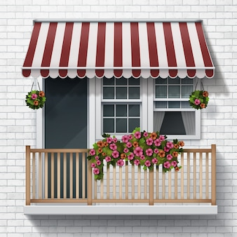 Illustration of a beautiful balcony with flowers brick wall background realistic style