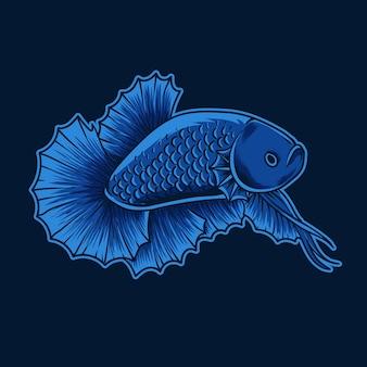 イラスト美しいベタの魚の青い色