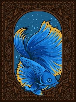 ヴィンテージ水族館フレームのイラスト美しいベタの魚