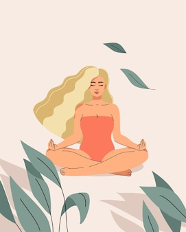 A  illustration of a beautiful blond woman sitting in a lotus position on a sandy light background in a tropical bush