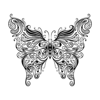 The illustration of the beautiful butterfly with the with the doddle zentangle for coloring inspiration