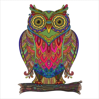 Illustration of beautiful decorative owl with a lot of details and colors.
