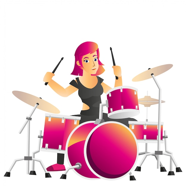 Illustration of beautiful drummer isolated on white background