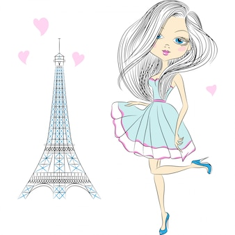 Illustration beautiful fashion girl in paris