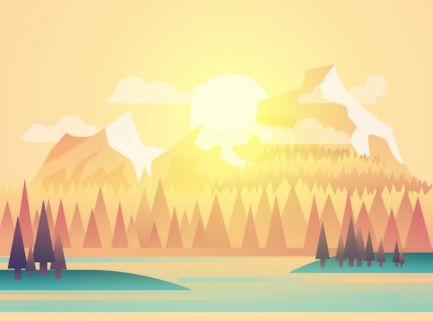 Illustration of beautiful fields landscape with a dawn, yellow hills, bright color sky,  in flat cartoon style