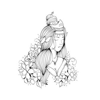 花の美しい少女のイラスト