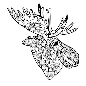 The illustration of the beautiful moose with the doodle art zentangle of the flowers