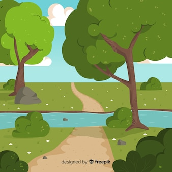 Illustration of beautiful natural landscape with big trees