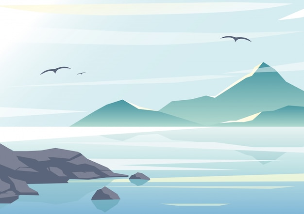 Illustration of beautiful sea view, water of the ocean, rocks on the beach, mountains and sky background in pastel colors and flat design.