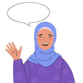 Illustration of a beautiful smiling muslim woman in a headscarf with a welcoming gesture