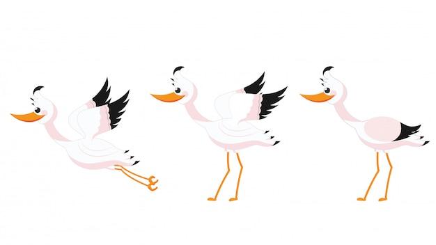 Illustration of beautiful stork set on white