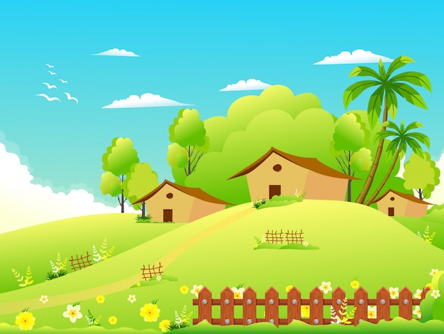 Illustration of a beautiful summer village on the hills