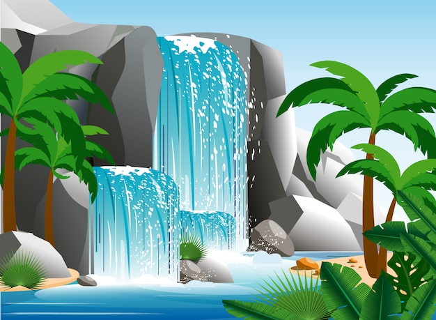 Illustration of beautiful waterfall in tropical jungle landscape with trees, rocks and sky. green palm wood with wild nature and bush foliage in flat style.