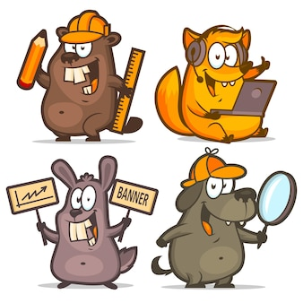 Illustration, beaver fox rabbit dog business concept, format eps 10