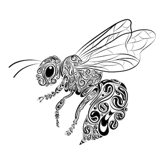 The illustration of the bee animals with the zentangle and black outline for coloring inspiration