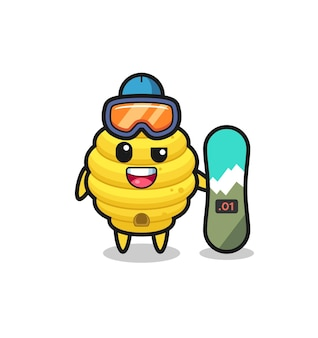 Illustration of bee hive character with snowboarding style , cute design