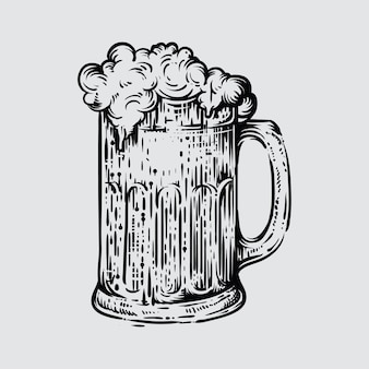 Illustration of beer glass in engraved style