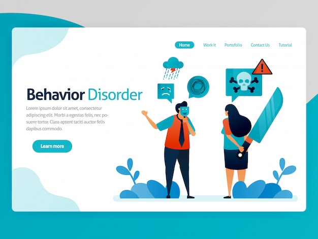Illustration of behavior disorder. false emotions. multiple personality. hypocritical. lying with yourself. desire to kill. vector cartoon for website homepage header landing page page template apps