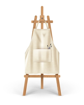 Illustration of beige clean apron for artist hanging on easel with brushes in pocket.