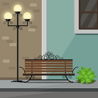 Illustration of bench in front of building with street light