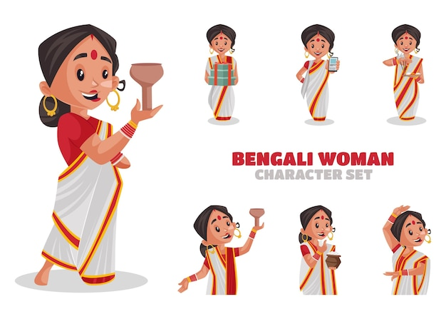 Illustration of bengali woman character set