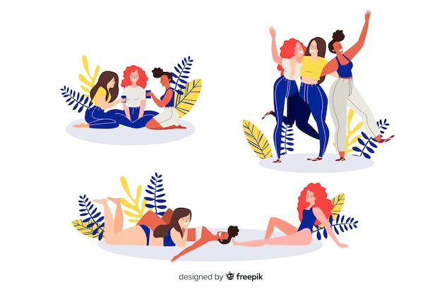 Illustration of best friends having fun together set