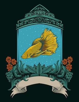 アンティークの水族館の飾りとイラストベタの魚