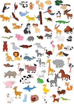 Illustration of big animal cartoon set