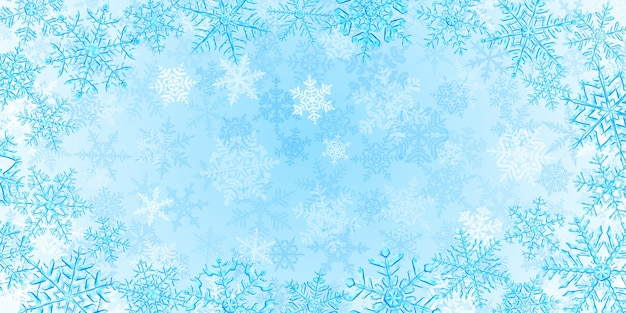 Illustration of big complex translucent christmas snowflakes in light blue colors, located around, on background with falling snow