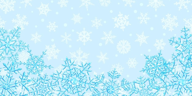 Illustration of big complex translucent christmas snowflakes in light blue colors, located below, on background with falling snow. transparency only in vector format