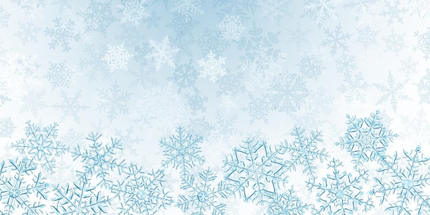Illustration of big complex translucent christmas snowflakes in light blue colors, located below, on background with falling snow
