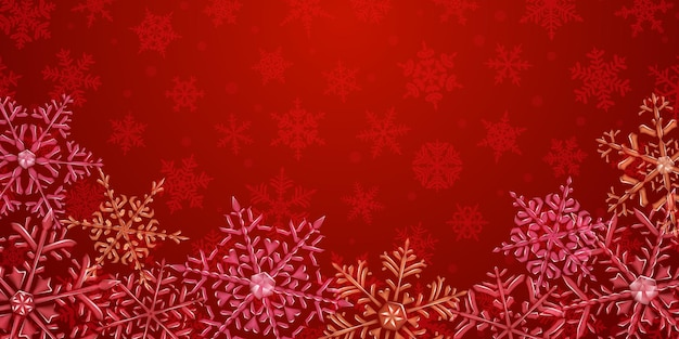 Illustration of big complex translucent christmas snowflakes in red colors, located below, on background with falling snow. transparency only in vector format