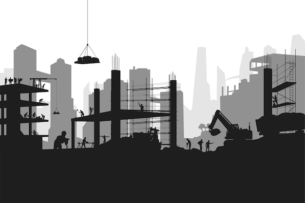 Illustration of big construction with a lot of professional builders in silhouette style