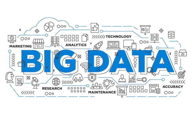Illustration of big data banner design with iconic style