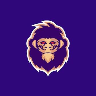 그림 큰 고릴라 머리 동물 야생 동물 생활 정글 캐릭터 마스코트 esport 로고 디자인 벡터