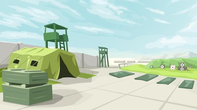 Illustration of big military training base